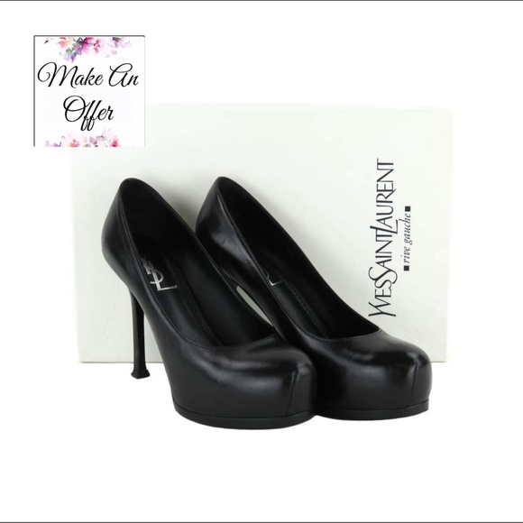 36c0dc11b7b Yves Saint Laurent Shoes | Ysl Black Platform Pumps Tribtoo 80 ...